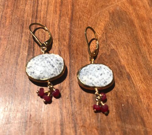Dendritic Opal & Ruby Drop Earrings, 14K Yellow Gold Gemstone Drop Earring Hand Made, Ruby Cluster Earring, Gift For Her, Gold Earring
