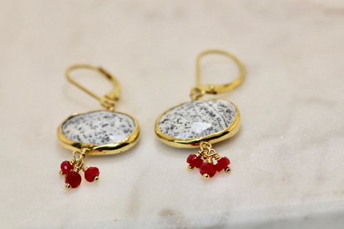 Very Unique Dendritic Opal & Ruby Drop Earrings, 14K Yellow Gold Gemstone Drop Earring Hand Made, Exquisite Ruby Cluster Earring, Gift For Her, Gold Earring