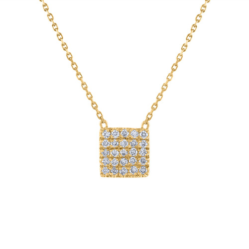 Chiclet Diamond Necklace, 14K Yellow Gold Square Diamond necklace, 14K Yellow Gold Diamond Pendant Hand Made,  0.30 Ct Diamond Necklace