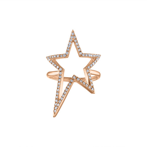 14K Rose Gold Diamond Ring, Solid Rose  Gold 14K Diamond Rock Star Ring, Diamond Cocktail Ring, Diamond Pave Star Ring, Hand Made Ring 14K