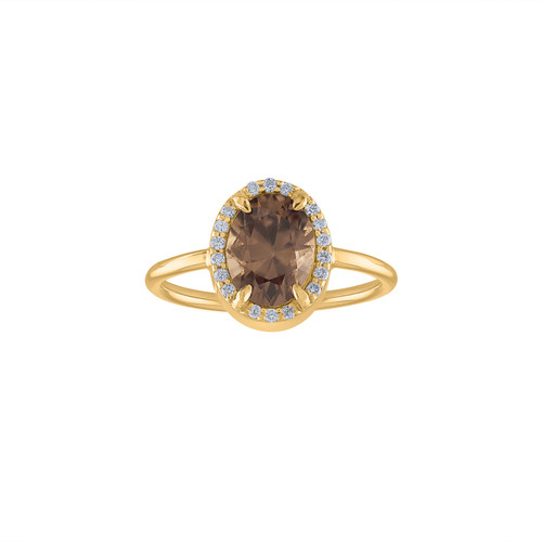 2.47 Diamond & Imperial Topaz Engagement Ring, Unique Halo Diamond Ring, Diamond Cocktail Ring, Handcrafted Anniversary Ring Imperial Topaz