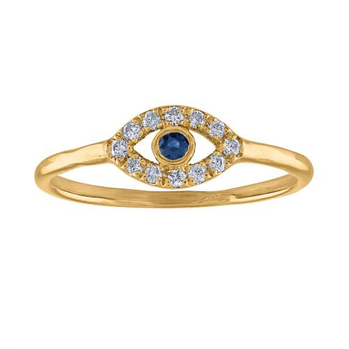14K Yellow Gold Evil Eye Ring, Handmade Evil Eye diamond Ring, Evil Eye Ring, Pinky Ring, Protection Ring, Gold Diamond Ring , Third Eye Ring