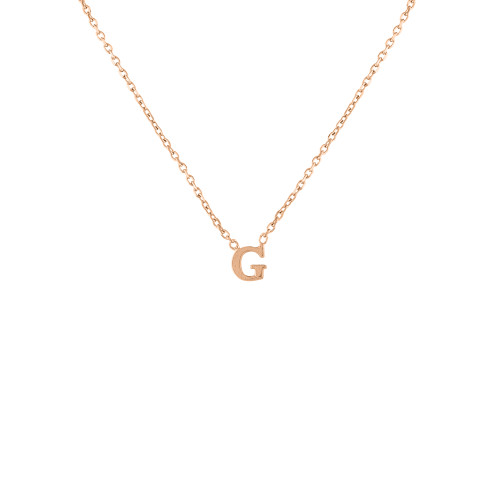 Solid Gold Tiny Initial Necklace, 14K Rose Gold Initial Necklace, Solid Gold Layering Necklace