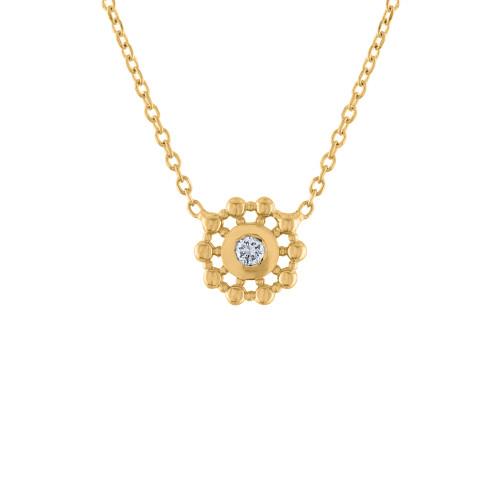 0.10 Ct Diamond Stardust Pendant Necklace, 14K Yellow Gold Diamond Necklace, Diamond Solitaire Necklace, Hand Made Diamond Stardust Necklace