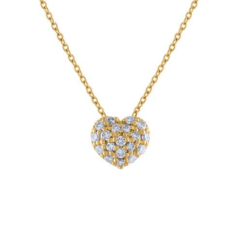 14K Diamond Heart Necklace, 14K Yellow Gold Diamond Love Heart Pendant Necklace, Hand Made Diamond Necklace, .40 Carat Diamond Necklace