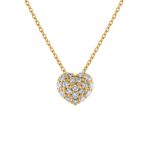 14K Diamond Heart Necklace, 14K Yellow Gold Diamond Love Heart Pendant Necklace, Hand Made Diamond Necklace, .40 Carat Diamond Necklace