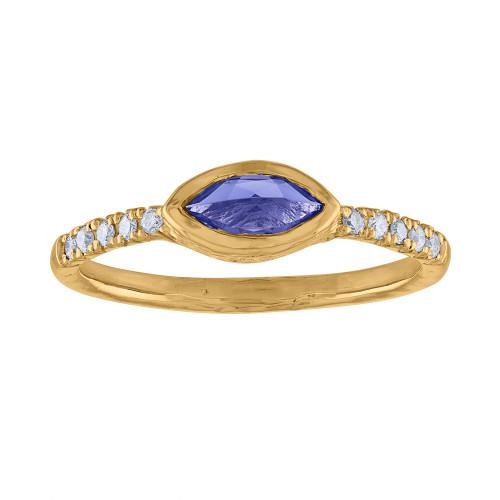 14K Yellow Gold Diamond & Tanzanite Anniversary Engagement Ring, Marquee Tanzanite  Stackable Ring, Yellow Gold Diamond Ring, Gift For Her