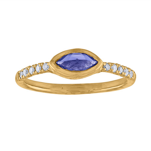 14K Yellow Gold Diamond & Tanzanite Anniversary Engagement Ring, Marquee Tanzanite  Stackable Ring, Yellow Gold Diamond Ring, Gift For Her