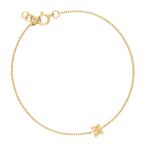 14K Yellow Gold Initial Bracelet, Solid Gold Letter Bracelet, Personalized Yellow Gold Bracelet, Initial Bracelet, Love Letter Bracelet