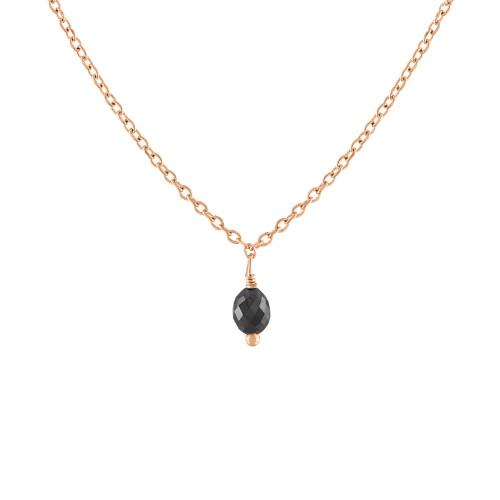 14K Rose Gold Black Briolette Diamond Necklace, Diamond Solitaire Necklace, Black Diamond Necklace, Rose Gold Black Diamond Necklace .10 CT