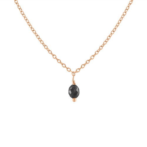 14K Rose Gold Black Briolette Diamond Necklace, Diamond Solitaire Necklace, Black Diamond Necklace, Rose Gold Black Diamond Necklace .10 CT