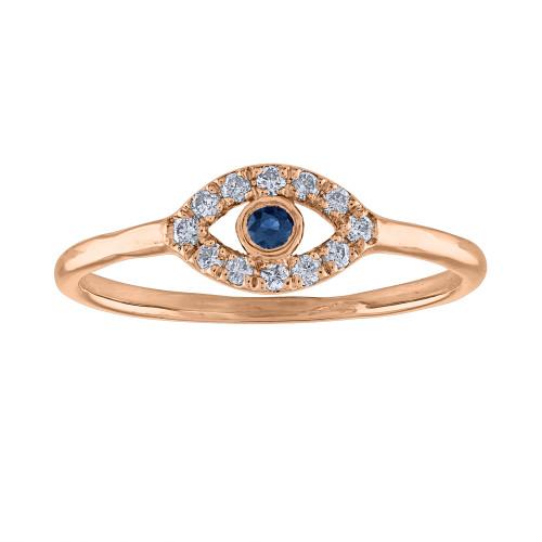 14K Rose Gold Evil Eye Ring, Handmade Evil Eye diamond Ring, Evil Eye Ring, Pinky Ring, Protection Ring, Rose Gold Diamond Ring , Third Eye Ring
