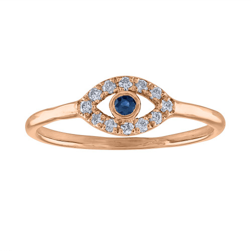 14K Rose Gold Evil Eye Ring, Handmade Evil Eye diamond Ring, Evil Eye Ring, Pinky Ring, Protection Ring, Rose Gold Diamond Ring , Third Eye Ring