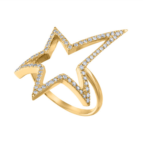 14K Yellow Gold Diamond Ring, Solid Yellow Gold 14K Diamond Rock Star Ring, Diamond Cocktail Ring, Diamond Pave Star Ring, Hand Made Ring 14K