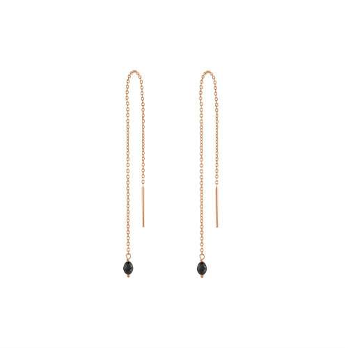 14K Rose Gold Black Diamond Threader Earring, Wire Threader Earring, Rose Gold Chain Threader Earring, Rose Gold Black Diamond Drop Earring