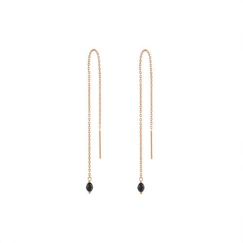 14K Rose Gold Black Diamond Threader Earring, Wire Threader Earring, Rose Gold Chain Threader Earring, Rose Gold Black Diamond Drop Earring