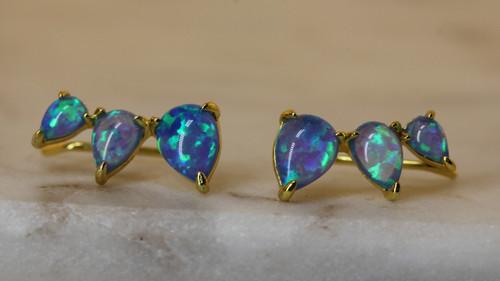 14K Yellow Gold Blue Opal Crawler Earring, Opal Stone Climber Earring, Opal Drop Earring,  Birthstone Earring