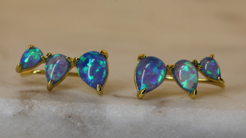 14K Yellow Gold Blue Opal Crawler Earring, Opal Stone Climber Earring, Opal Drop Earring,  Birthstone Earring