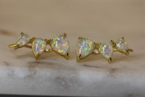 14K Yellow Gold White Opal Crawler Earring, Opal Stone Climber Earring, Opal Drop Earring, Birthstone Earring, October Birth Stone