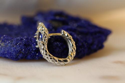 Sterling Silver Snake Huggie Earring, Sapphire Snake Earring, Snake Hoop Earring, Silver Handmade Textured Blue CZ Hoop Earring