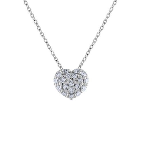 14K Diamond Heart Necklace, 14K White Gold Diamond Love Heart Pendant Necklace, Hand Made Diamond Necklace, .40 Carat Diamond Necklace