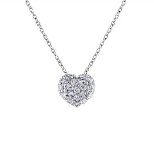 14K Diamond Heart Necklace, 14K White Gold Diamond Love Heart Pendant Necklace, Hand Made Diamond Necklace, .40 Carat Diamond Necklace