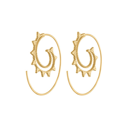 14K Yellow Gold Tibetan Hoop Earring, Spiral Gold Hoop Earring, Tribal Gold Earring, Yellow Gold Designer Hoop Earring, Gift For Her