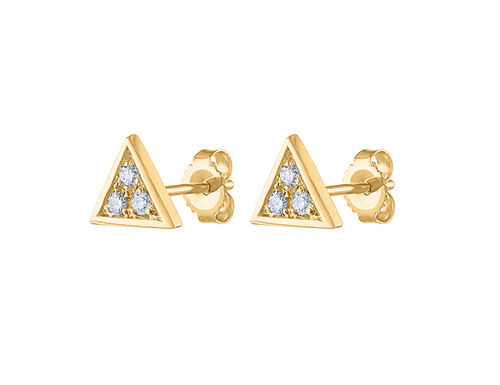 14K Diamond Triangle Stud Earring, Diamond Stud Earring Yellow Gold, 14K Yellow Gold Diamond Earring, Triangle Stud Earring