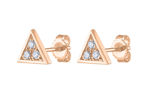 14K Diamond Triangle Stud Earring, Diamond Stud Earring  Rose Gold, 14K Rose Gold Diamond Earring, Triangle Stud Earring
