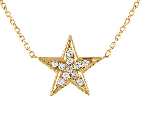 Diamond Star Necklace, 14K Yellow Gold Star Diamond Necklace, Pave Gold Necklace, Handmade Star Necklace Pendant