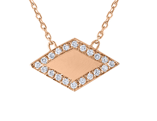 Unique Rhombus Diamond Necklace, 14K Rose Gold Minimal Statement Beauty, 14K Rose Gold  Diamond Necklace Handmade