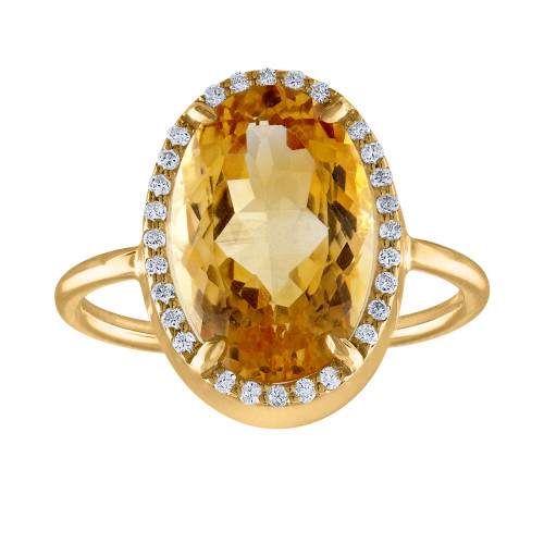 5.05 Ct Diamond And Citrine Cocktail Ring, Citrine and Diamond Engagement  Anniversary Ring, Statement Ring Hand Made