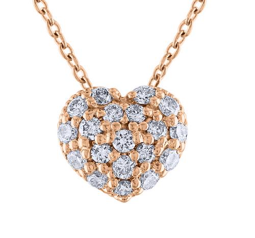 14K Diamond Heart Necklace, 14K Rose Gold Diamond Love Heart Pendant Necklace, Hand Made Diamond Necklace, .40 Carat Diamond Necklace