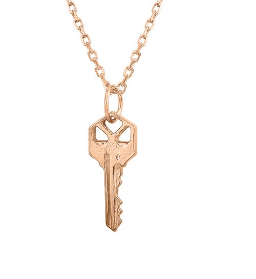 Very Unique 14K Rose Gold Square Key Necklace