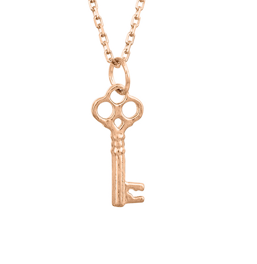 Tiny Rose Gold Classic Key Necklace, Rose Gold Sterling Silver Key Necklace, Key Necklace