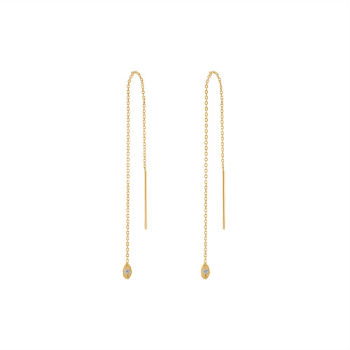 14K Yellow Gold Diamond Threader Earring