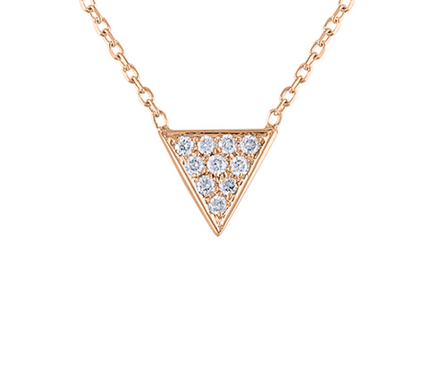 14K Rose Gold Triangle Diamond Necklace