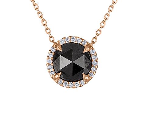 Very Unique Rose Cut Black Diamond Necklace