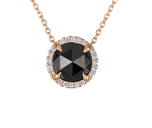 Very Unique Rose Cut Black Diamond Necklace