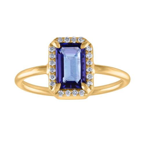 1.58 Ct Emerald Cut Tanzanite Diamond Engagment Ring, Hand Crafted Unique  Tanzanite Diamond  Anniversary Cocktail Ring