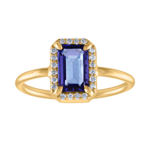 1.58 Ct Emerald Cut Tanzanite Diamond Engagment Ring, Hand Crafted Unique  Tanzanite Diamond  Anniversary Cocktail Ring