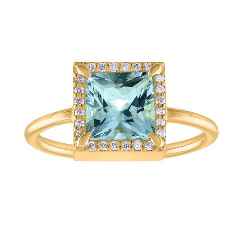 Unique 2.50 Ct Aquamarine And Diamond Engagement Ring