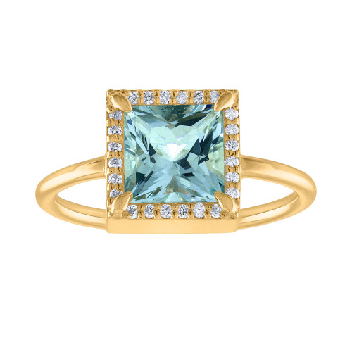 Unique 2.50 Ct Aquamarine And Diamond Engagement Ring