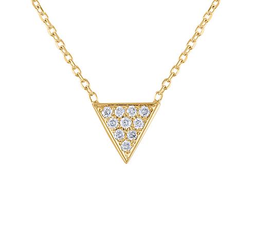 Exquisite 14K Triangle Diamond Necklace, Unique Diamond Minimal Layering Triangle Necklace, Hand Crafted 14K Yellow Gold Diamond Necklace, Diamond Pendant