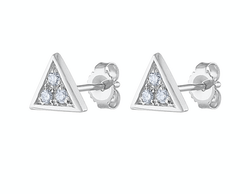 Exquisite hand Crafted Diamond Triangle Stud Earring, 14K White Gold Unique Diamond Earring