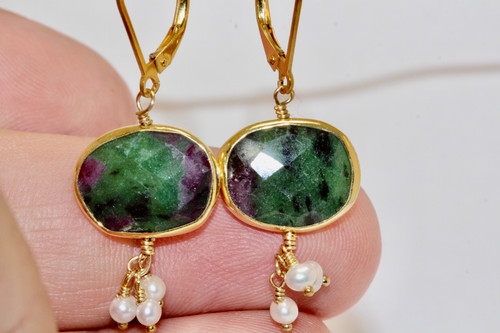 Exquisite Ruby-Zoisite & Pearl  Drop Earrings, 14K Yellow Gold Gemstone Drop Earring Hand Made, Best Pearl Cluster Earring, Unique Gift For Her