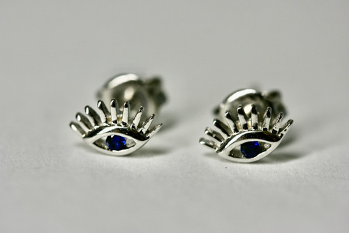 Unique Sterling Silver Eyelash Stud Earring, Exquisite Evil Eye Sapphire Earring,  Hand Made Piercing Earring