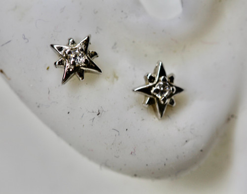 Delicate Sparkly Diamond Star Stud Earring, Exquisite North Star Earring,  Hand Made CZ Star Earring
