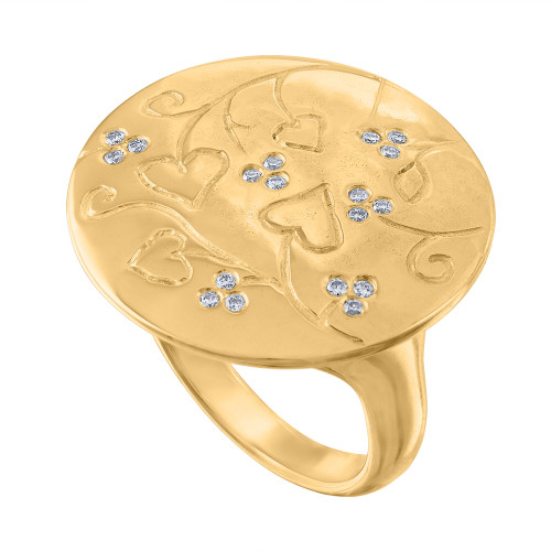 Exquisite Diamond Statement Cocktail Ring set in solid 18K yellow gold