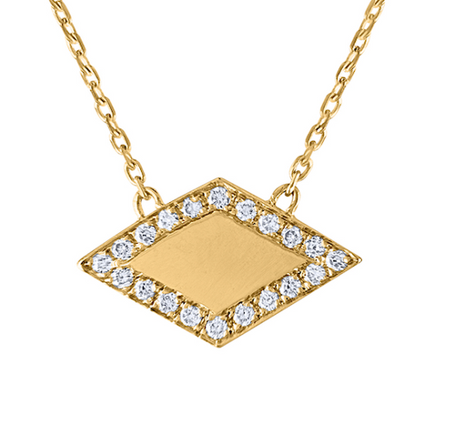Rhombus Diamond Necklace, 14K Yellow Gold Minimal Statement Beauty, 14K Yellow Diamond Necklace Handmade